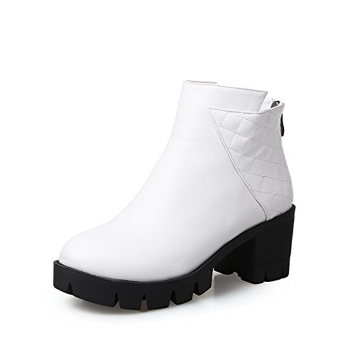 AgooLar Damen Rund Zehe Mittler Absatz Weiches Material Niedrig Spitze Rein Stiefel, Weiß, 37