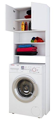 Vcm 911986jutas mobile per lavatrice con armadio portaoggetti, in legno bianco, 190x 64x 25cm