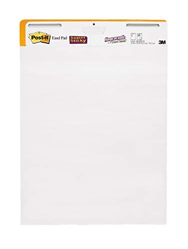 Post-it Super Sticky Staffelei, 63,5 x 76,2 cm, 30 Blatt/Blatt, 2 Blöcke (559 STB), großes, weißes Premium Flipchart-Papier, Rollen für den Transport, zum Aufhängen mit Command Strips
