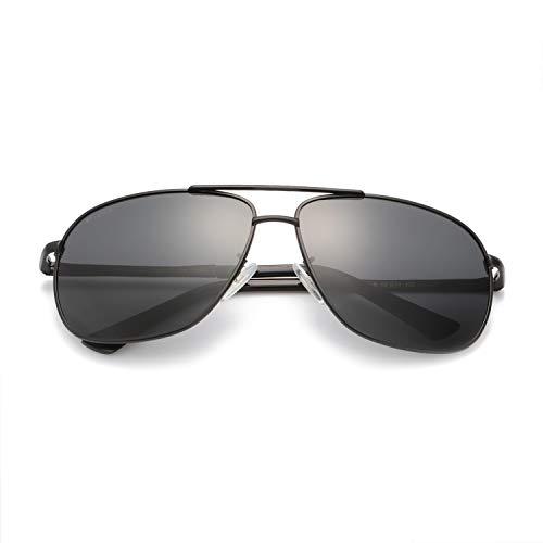 Polarisierte Sonnenbrille für Herren Classic Double Bridge Metallrahmen 100% UVA/UVB-Schutz Fashion Style (Matt Schwarz(graue Linse))