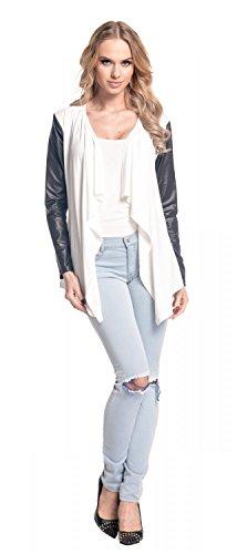 Glamour Empire Damen Wasserfall-Jacke Shirtjacke mit Ärmeln aus Kunstleder. 098 Ekrü
