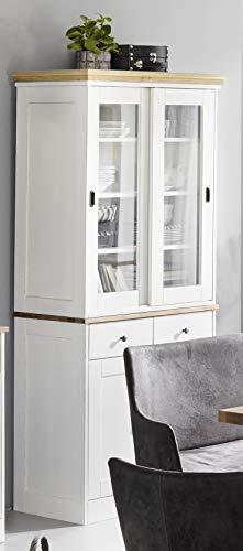 Gradel Buffetschrank Fiona Eiche massiv- 2 Türen, 2 Schübe, Buffetschrank 2 Schiebetüren- weiß Vintage, Natur geölt