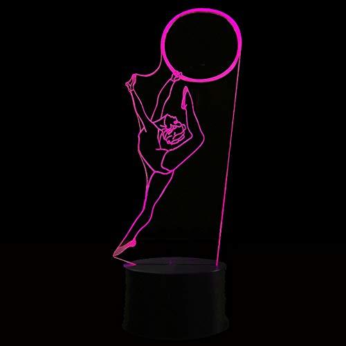 Qliyt 3D Vision Schreibtischlampe Gymnastik Modellierung Usb Mädchen Geburtstag Dekor Geschenke Led 7 Farbwechsel Atmosphäre Nachttisch Nachtlicht Touch-Schalter