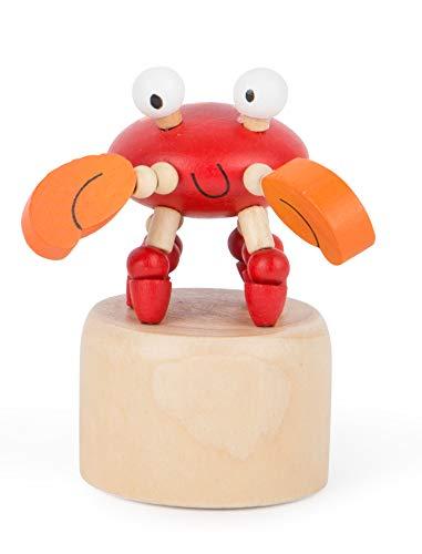 Small Foot 11145 Drückfigur Krebs aus Holz, FSC 100{12045f844df56e6a8119f044f88a228a6e8cfc9d9d56e8aa1d59e196def7b005}-Zertifiziert, Mitgebsel Spielzeug, Mehrfarbig