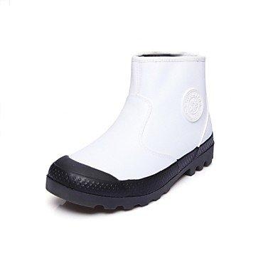 Rtry Zapatos De Mujer De Piel Sintética Forro De Piel De Invierno Botas De Moda Botas Planas De Tacón Medio Botas De Punta Media Para Atletismo Casual Gris Negro Us6 / Eu36 / Uk4 / Cn36