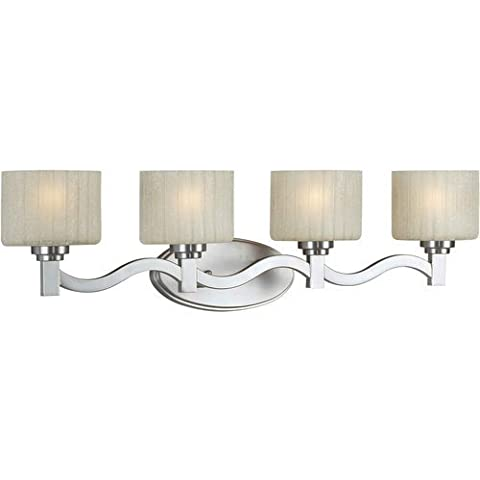 Forte Lighting 5388-04-55 Transitional 4 Light Vanity Fixture, Brushed Nickel Finish with Umber Linen Glass by Forte Lighting