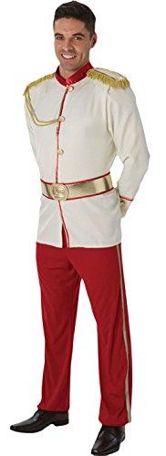 Karnevalsbud - Herren Karnevals Komplett Kostüm Prince Charming , Weiß, Größe M/L (Herren Disney Prince Charming Kostüme)
