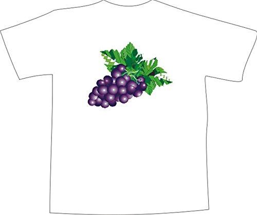 T-Shirt E132 Schönes T-Shirt mit farbigem Brustaufdruck - Logo / Comic - Weintraube mit Blättern Mehrfarbig