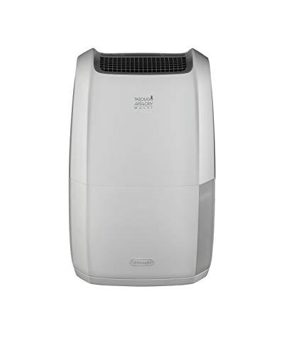 De'Longhi DDSX220 Deshumidificador Multifunción, 20 L/d, Filtro Polvo y Anti alérgenos, función Secado Ropa, Gas ecológico, Pantalla LED, Rejilla, 436 W, 44 Decibelios, Blanco y gris