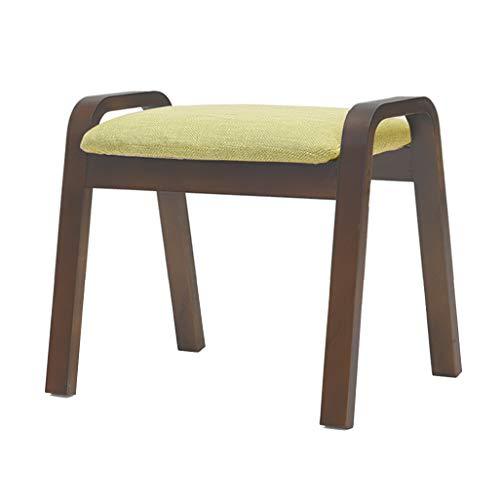 JUN Fußhocker Polsterhocker - Ändern Sie Schuh-Schemel-Fuß-Schemel Gepolstertes Fußstütze-Holz-Ottoman-Staub-Beweis Flur-Stand-Stuhl-Leinen-Gewebe-Sitz mit 4 braunen Beinen für Wohnzimmer 45x33x36cm