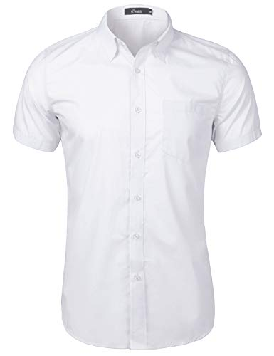 Sykooria Kurzarmhemd Herren Regular Fit Leicht Button Down Classic Design Männer Hemd Weiß S (Männer-hemd Weißes)
