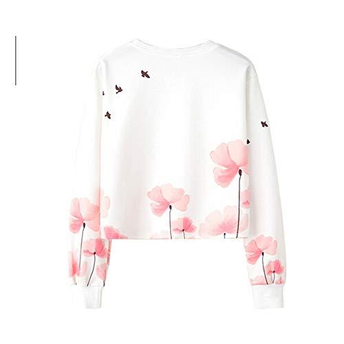 Hmeng Frauen Brief Print Langarm Crop Top Sweatshirt Hoodies (Weiß, S)