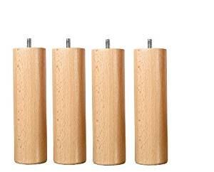 Juego de 4patas de madera de cama maciza Vernis Natural altura 20cm