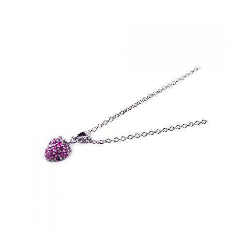 Rhodium beschichtet Sterling Silber rosa Zirkonia Herz Anhänger mit Halskette (10k White Gold Rosa Herz Ring)