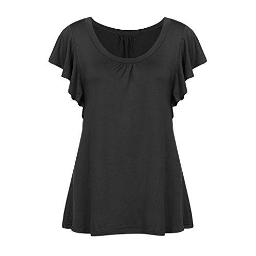 MRULIC 2018 Neu Damen Rundhals Geripptes Sleeve Casual Falten Kurzarm T-Shirt mit Stretch Tunika Top(Schwarz,EU-48/CN-3XL)