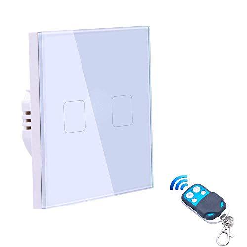 Smart Switch Touch Sensor LED Nachtlicht EU Standard, Funkfernbedienung RF 433.92MHz Funkschalter mit Fernbedienung (Weiß) Schalter 2Weg Crystal Glass Panel Home Wandschalter (Energie A + + +) -