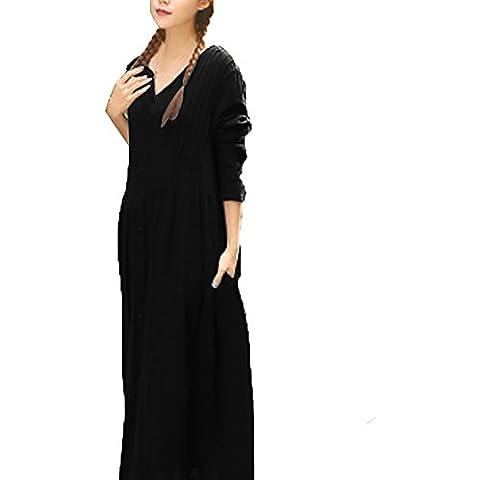 StyleDome Donna Vestito Abito Lungo Maxi Maniche Lunghe Sexy Casual Elegante Cotone Ufficio V Collo