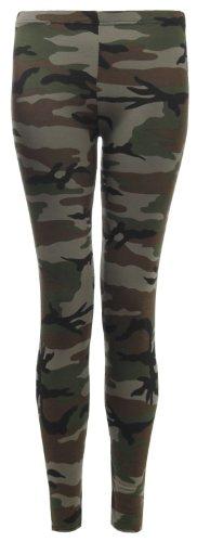 Fast Fashion Damen In Voller Länge Armee Camouflage Drucken Jersey Leggings (EUR (42-44), Green) (Jersey Camouflage Drucken)