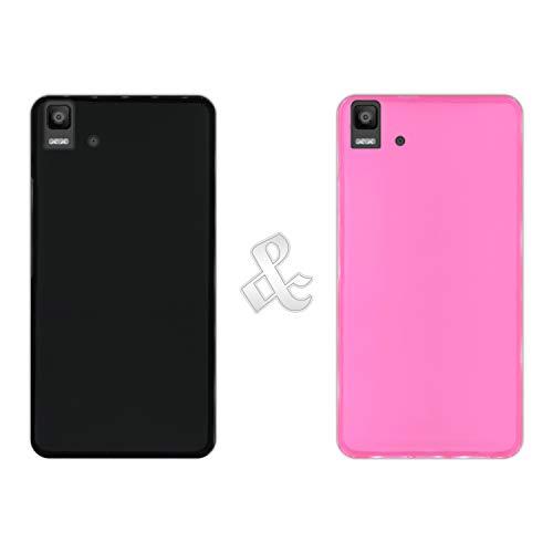 Hapdey Pack [2 Stück] Hülle [Schwarz + Pink] für [Bq Aquaris E5s - E5 4G] - Hülle Silikon Flexibel Gel, Stoßfest, Harte Schutzhülle, Schutz vor Kratzer & Staub