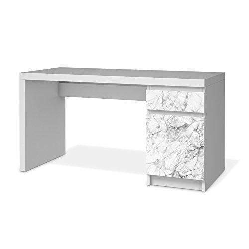 Möbeltattoo für IKEA Malm Schreibtisch Kommode | Möbeltattoo Klebefolie Sticker Aufkleber Möbel renovieren | Home und Style Schlafzimmer Dekomaterial | Design Motiv Marmor weiß