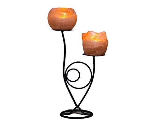 Klass Home Collection® handgefertigten Schmiedeeisen handgemachte Himalaya ionisierender Rock Salz Teelichthalter (Doppel Blume) - Handgemachte Salz