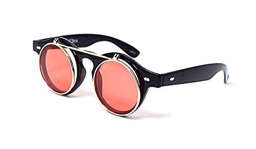 Ultra® Black Frame mit roten Linsen hochklappen Kreis Steampunk hochwertige Schutzbrille Brille Retro Runde Cyber UV400 Sonnenbrille
