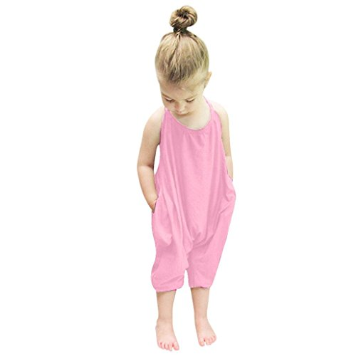 PINEsong Kleinkind Säugling Baby Sling Spielanzug Übersatz Stück Hose Kleider (Rosa, 2T) (Einzigartige 2t Halloween Kostüme)