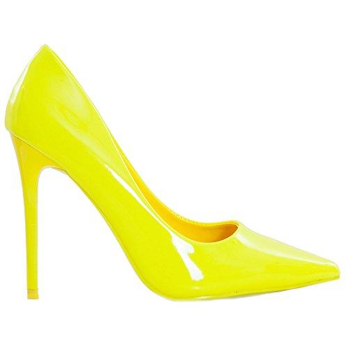 Toocool - Scarpe donna decolletes decolt? tacchi alti punta vernice lucide nuove ID98273-3 Giallo fluo
