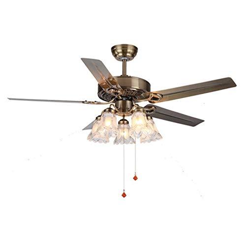 DuDuDu Luz de ventilador de techo LED Retro americano de 52 pulgadas...