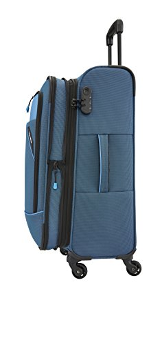 Travelite derby 4-rad trolley m erweiterbar, blau, 87548-20 bagaglio a mano, 66 cm, 69 liters, blu (blau)