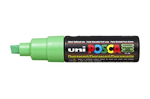 Uni-ball Posca PC-8 k, con punta a scalpello, punta larga, colore: verde fluorescente, confezione da 6