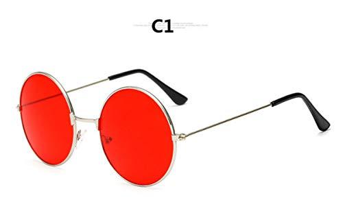 Sonnenbrillen NEW Explosion Models Metal Round Fashion Marine Lenses Red Sunglasses Unisex Fashion Prince Mirror UV400 C1