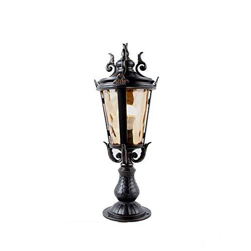 Außenpfosten Laternen Luxus Kolonial 1-Licht Außenpfosten Licht Garten Terrasse Poller Säulenlampe Schwarz Seide Finish Glas Terrassenbeleuchtung (Größe : 22 * 54cm) -
