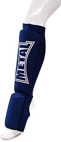 Metal Boxe Protège-tibias/pieds Bleu Taille XS