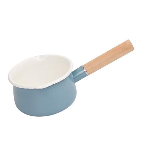 P Prettyia Japanische Stil Klein Emaille Topf Milchtopf Kochtopf Simmertopf, Kapazität: 1,3 L, Blau