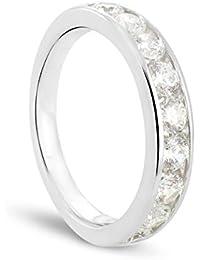 Luxveritasgemma - BADM01007 - Alliance Femme - Demi Tour - Or blanc 375/1000 3.1 gr - Diamant 1 cts