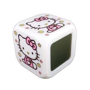 HELLO KITTY - Réveil LUMINEUX - Il y a 7 couleurs différentes + TEMPÉRATURE – MoodIcare – alarm clock - 8 x 8 x 8 cm - Réveil Horloge Thermomètre - Cube Eclat - Collection super pour fans de Hello Kitty!!!