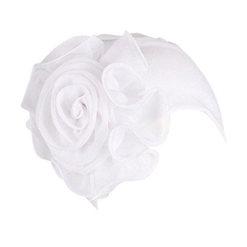 Fuibo Kappe für Herren und Damen, Frauen Damen Retro große Blumen Hut Turban Krempe Hut Cap Pile Cap | Basecap, Baseball Cap, verstellbar (Weiß) (Beanie Hüte Mit Krempe)