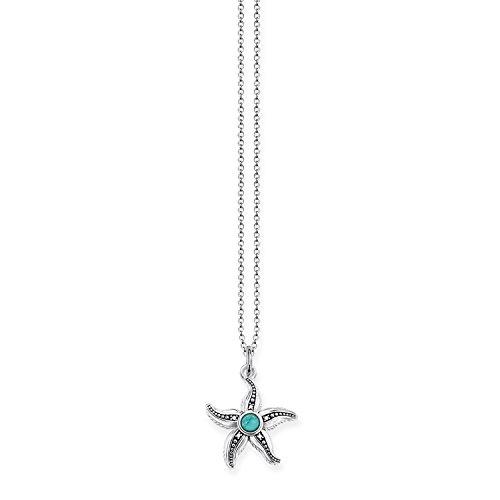 THOMAS SABO Damen-Kette mit Anhänger 925 Silber Diamant (1 ct) weiß Türkis - D_KE0013-357-17-L45v