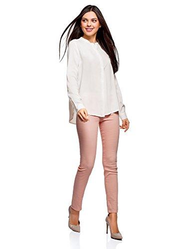 oodji Collection Damen Viskose-Bluse in A-Silhouette Weiß (1200N)