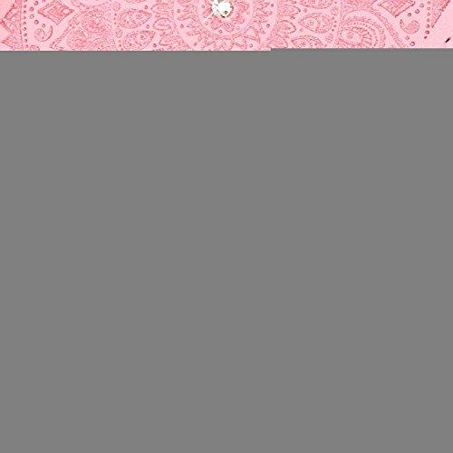 Cover Huawei P9 Lite 2016, Custodia Huawei P9 Lite 2016, Sunroyal [RFID Blocco Portafoglio] Bling Diamante Custodia 100% da del Raccoglitore Manofatto Basamento per Carta di Credito Copertura protetti Campanula Rosa