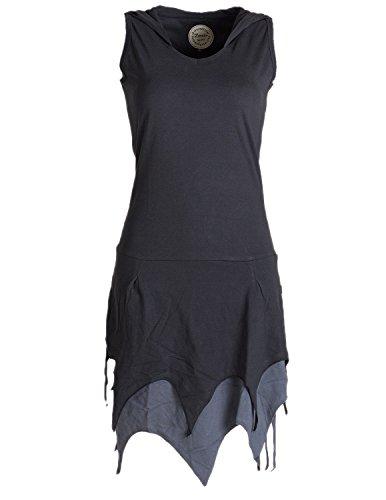 Chick Kostüm Kleid Hippie - Vishes - Alternative Bekleidung - Ärmelloses Elfenkleid im Lagenlook mit Zipfeln und Zipfelkapuze aus Biobaumwolle schwarz 48