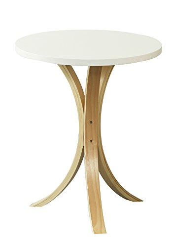 Orolay Wooden Round Side Sofa Table Small Coffee Tea Table for Living Room (White)