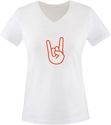 EZYshirt® Rock Hand Damen V-Neck T-Shirt Weiss/ Orange