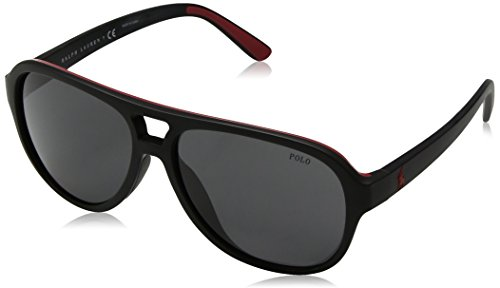 Polo Ralph Lauren Herren 0Ph4123 500187 58 Sonnenbrille, Schwarz (Black Red/Grey)