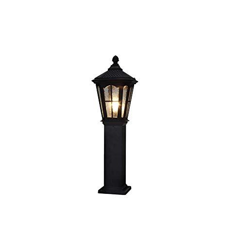 Außen-Garten-Leuchte 60 cm hoch, Wegeleuchte Pollerleuchten Hoflampe Schwarze aus Aluminium/Glas, Pfostenlichter E27-Fassung Wasserdicht IP44 Landschaft Grünland Eingang Gehweg Beleuchtung