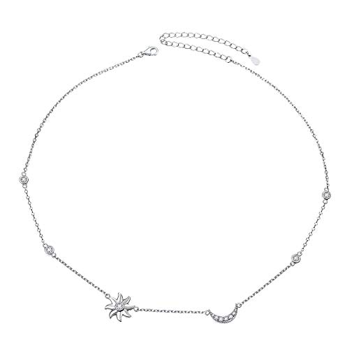925 Sterling Silber Halskette Flyow Damen Anhänger Choker Kette Schmuck (Sun Mond und Star)