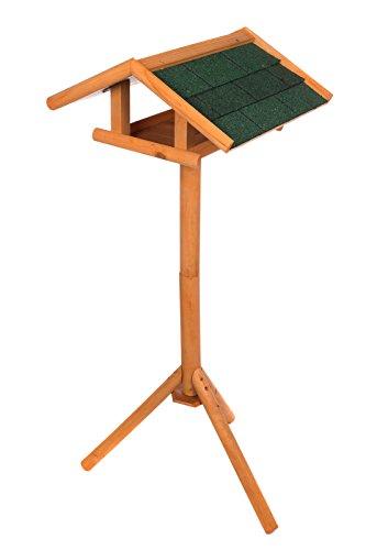 Edles Vogelhaus Zedernholz 3024 mit Ständer Massivholz 120 cm hoch und mit Schindeldach gedeckt Futterkrippe Futterspender Futterhaus - 2