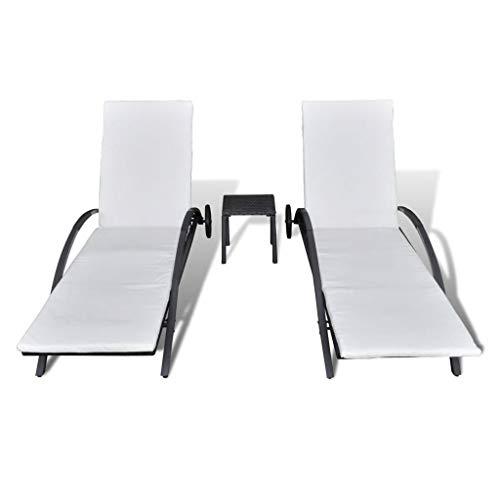 Festnight- 2er Set Sonnenliege mit Tisch aus Poly Rattan | Doppelliege Gartenliege Rattanliege für 2 Personen | Gartenmöbel Set Schwarz/Braun 200 x 65 x 39 cm