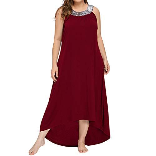 Ansenesna Kleid Damen Sommer Lang Elegant Schick Große Größen,Asymmetrisch Vintage Abendkleid Für Mollige (XL, Rot)